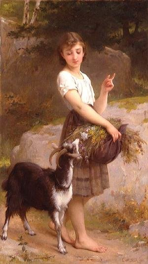 Famous paintings of Goats: Young Girl With Goat & Flowers