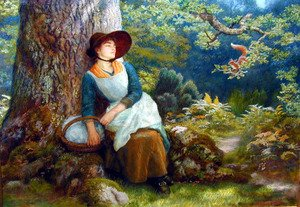 Reproduction oil paintings - Arthur Hughes - Asleep In The Woods