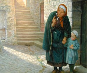 Reproduction oil paintings - Arthur Hughes - Old Neighbour Gone Bye