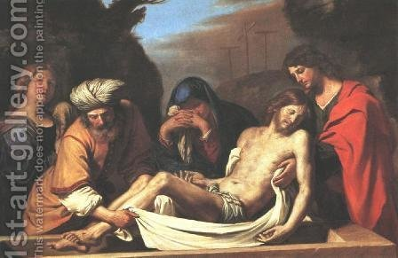 The Entombment Of Christ 1656 by Giovanni Francesco Guercino (BARBIERI) - Reproduction Oil Painting