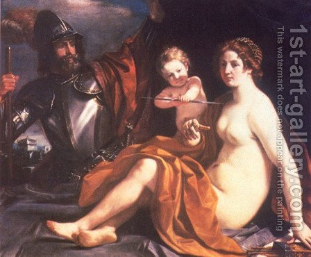 Venus  Mars And Cupid 1633 by Giovanni Francesco Guercino (BARBIERI) - Reproduction Oil Painting
