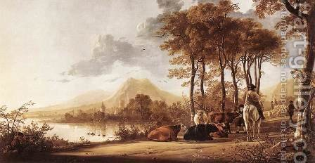 River Landscape 1655-60 by Aelbert Cuyp - Reproduction Oil Painting