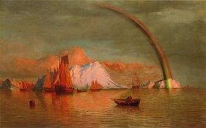 Reproduction oil paintings - William Bradford - Arctic Sunset With Rainbow