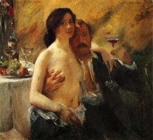 Famous paintings of Apples: Self Portrait With His Wife And A Glass Of Champagne