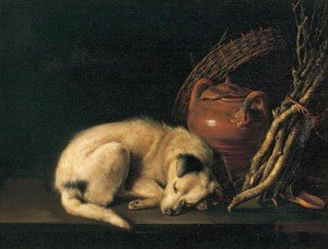 Famous paintings of Domestic Animals: Sleeping Dog With Terracotta Jug  Basket And Kindling Wood
