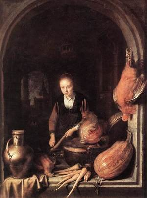 Famous paintings of Domestic Animals: Woman Peeling Carrot