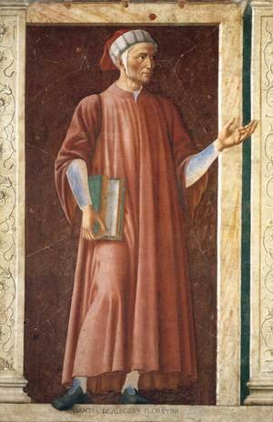 Renaissance - Early painting reproductions: Famous Persons Dante Allighieri 1450
