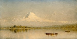 Famous paintings of Ships & Boats: Mount Rainier  Bay Of Tacoma