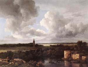 Reproduction oil paintings - Jacob Van Ruisdael - An Extensive Landscape with a Ruined Castle and a Village Church 1665-72