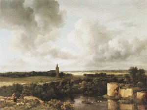 Reproduction oil paintings - Jacob Van Ruisdael - Landscape With Church And Ruined Castle