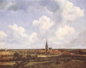 Reproduction oil paintings - Jacob Van Ruisdael - Landscape with Church and Village 1665-70