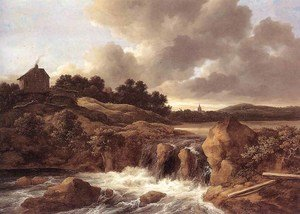 Reproduction oil paintings - Jacob Van Ruisdael - Landscape with Waterfall c. 1670