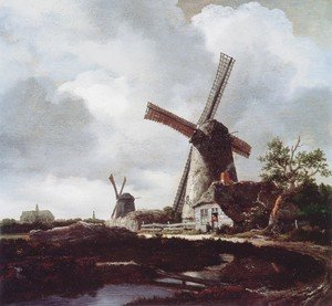 Reproduction oil paintings - Jacob Van Ruisdael - Landscape With Windmills Near Haarlem
