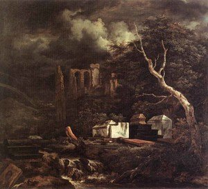 Reproduction oil paintings - Jacob Van Ruisdael - The Jewish Cemetery 1655-60
