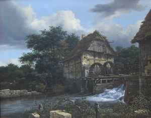 Reproduction oil paintings - Jacob Van Ruisdael - Two Water Mills and an Open Sluice 1653