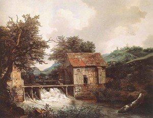 Reproduction oil paintings - Jacob Van Ruisdael - Two Watermills and an Open Sluice near Singraven 1650-52