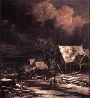 Reproduction oil paintings - Jacob Van Ruisdael - Village at Winter at Moonlight