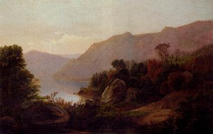 Reproduction oil paintings - William Trost Richards - A Mountainous Lake Landscape