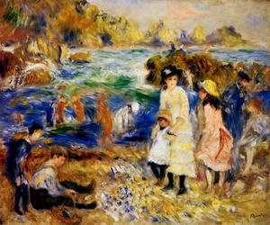Famous paintings of Children: Children By The Sea In Guernsey