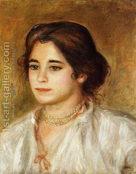 Gabrielle Wearing A Necklace by Pierre Auguste Renoir - Reproduction Oil Painting
