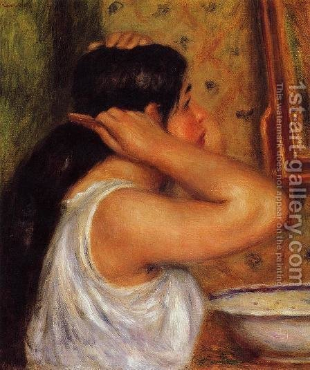 La Toilette   Woman Combing Her Hair by Pierre Auguste Renoir - Reproduction Oil Painting