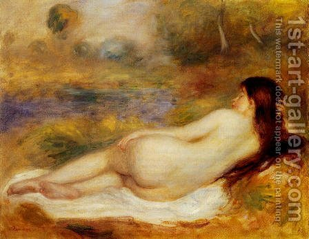 Pierre Auguste Renoir: Nude Reclining On The Grass - reproduction oil painting