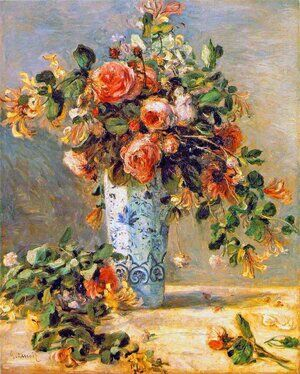 Famous paintings of Still Life: Roses And Jasmine In A Delft Vase