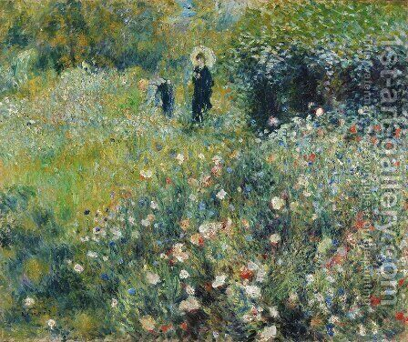 Pierre Auguste Renoir: Summer Landscape Aka Woman With A Parasol In A Garden - reproduction oil painting