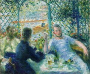 Famous paintings of Cafes & Bistros: The Canoeists Luncheon