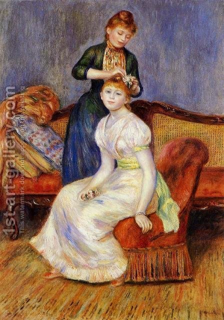 Pierre Auguste Renoir: The Coiffure - reproduction oil painting