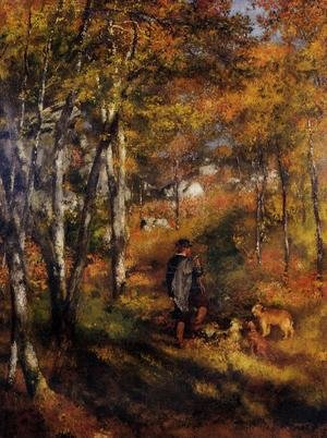 Famous paintings of Domestic Animals: The Painter Jules Le Coeur Walking His Dogs In The Forest Of Fontainebleau