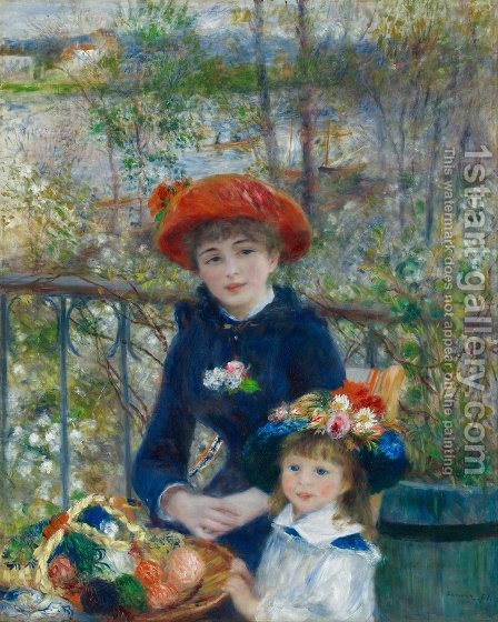 Pierre Auguste Renoir: Two Sisters Aka On The Terrace - reproduction oil painting