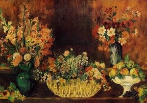 Famous paintings of Vases: Vase  Basket Of Flowers And Fruit