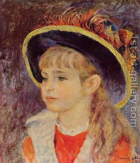 Young Girl In A Blue Hat by Pierre Auguste Renoir - Reproduction Oil Painting