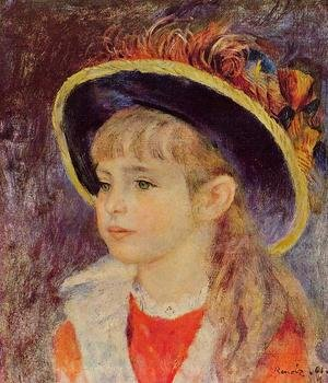 Famous paintings of Children: Young Girl In A Blue Hat