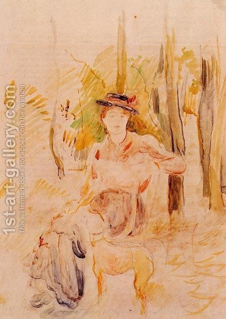 Berthe Morisot: Jeune Fille A La Levrette - reproduction oil painting