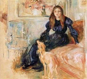 Reproduction oil paintings - Berthe Morisot - Julie Manet and her Greyhound Laertes 1893