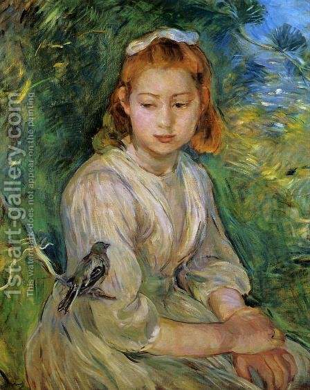 Berthe Morisot: Young Girl With A Bird - reproduction oil painting