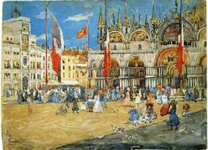 Famous paintings of Squares and Piazzas: St  Marks  Venice