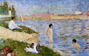 Pointillism painting reproductions: Bathers In The Water