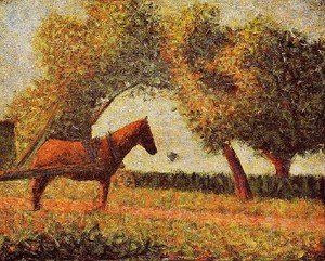 Pointillism painting reproductions: Horse