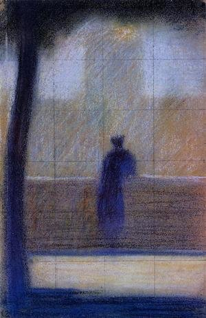 Pointillism painting reproductions: Man Leaning On A Parapet