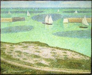 Pointillism painting reproductions: Port En Bessin  Entrance To The Outer Harbor