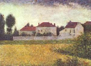 Pointillism painting reproductions: White Houses  Ville D Avray