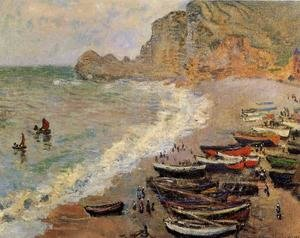 Famous paintings of Ships & Boats: Beach At Etretat