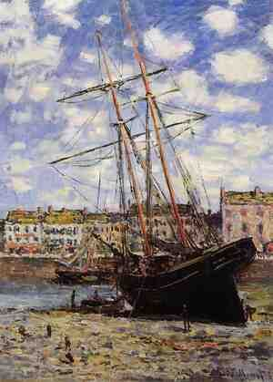 Famous paintings of Ships & Boats: Boat At Low Tide At Fecamp