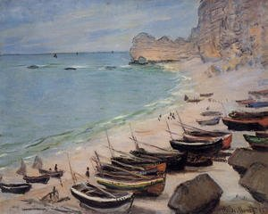 Famous paintings of Ships & Boats: Boats On The Beach At Etretat