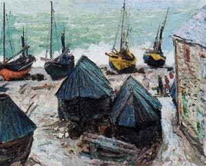 Famous paintings of Ships & Boats: Boats On The Beach At Etretat2