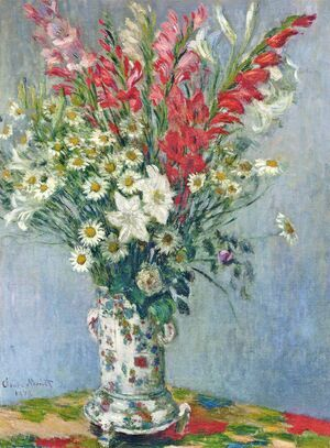 Famous paintings of Vases: Bouquet Of Gadiolas  Lilies And Dasies