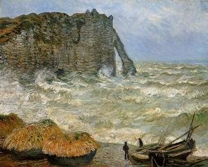 Famous paintings of Ships & Boats: Etretat  Rough Sea